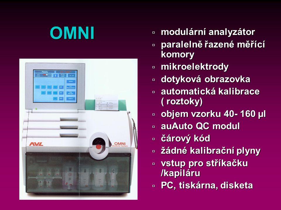 31 OMNI ú Měřené parametry ü Modul krevních plynů : pH, pCO 2, pO 2, p baro ü Modul hemoglobin: ctHb ü Modul COOX : HHb, O 2 Hb, COHb, MetHb, SulfHb ü Modul ISE : Na +, K +, Cl -, iCa ü Modul MSS: Glc, Lac, Urea
