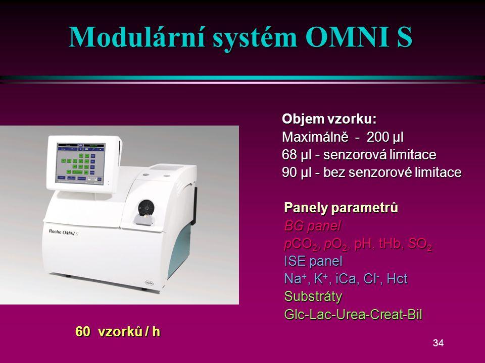 33 Modulární systém OMNI S BG + COOX + Bil OMNI-S 2 BG + COOX + Bil BG + ISE + tHb/SO 2 OMNI-S 3 BG + ISE + tHb/SO 2 BG + ISE + COOX + Bil OMNI-S 4 BG + ISE + COOX + Bil BG + ISE + tHb/SO 2 + Glc/Lac/Urea OMNI-S 5 BG + ISE + tHb/SO 2 + Glc/Lac/Urea BG + ISE + tHb/SO 2 + Urea/Crea OMNI-S 7 BG + ISE + tHb/SO 2 + Urea/Crea BG + ISE + COOX + Bil + Urea/Crea OMNI-S 8 BG + ISE + COOX + Bil + Urea/Crea BG + tHb/SO 2 OMNI-S 1 BG + tHb/SO 2