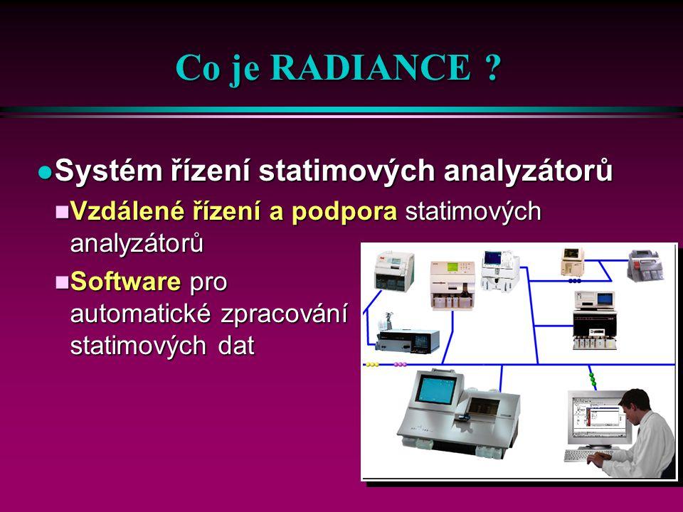 49 RADIANCE l Řídící modul analyzátoru n Pro monitorování a vzdálené řízení l Moduly zpracování dat n Zpracování dat pacientů a z analyzátoru l Nastavovací moduly n Pro úpravu a konfiguraci RADIANCE l Standardní rozhraní obsahuje n Připojení k LIS/NIS l Modul rozhraní NIS/LIS PLUS n Pro obousměrnou komunikaci Řízení analyzátoru Pacientský DM DM analyzátoru Nastavovací programy N IS/LIS PLUS Std rozhraní