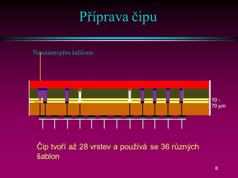 7 Čidla průtokové komůrky Vstup vzorku pH iCa K + Na + pO 2 pCO 2 Hct RefHydrogel Vstup vzorku Spojovací kolíky Detekční čip Průtoková komůrka