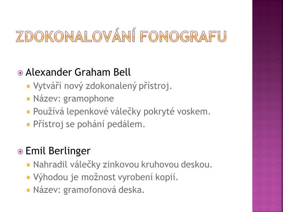  Alexander Graham Bell  Vytváří nový zdokonalený přístroj.