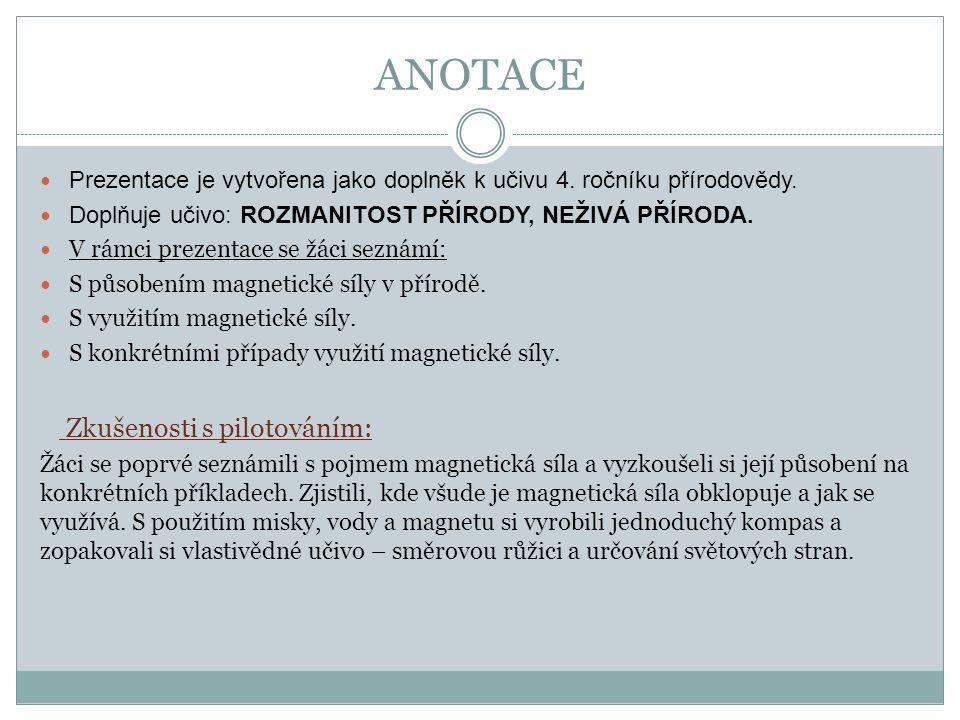 ANOTACE Prezentace je vytvořena jako doplněk k učivu 4.