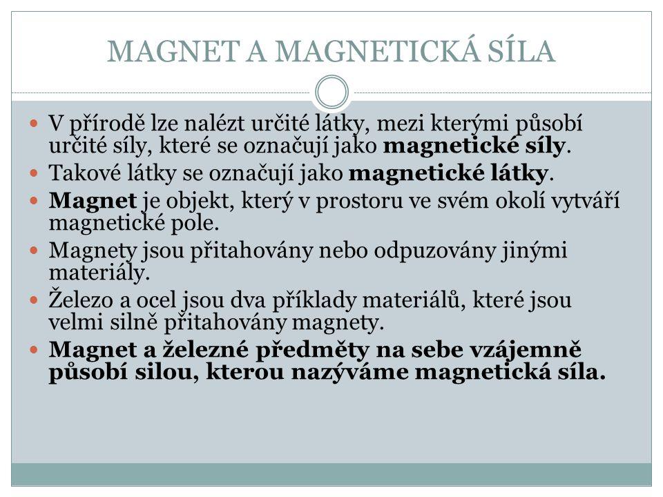 MAGNET A MAGNETICKÁ SÍLA V přírodě lze nalézt určité látky, mezi kterými působí určité síly, které se označují jako magnetické síly.