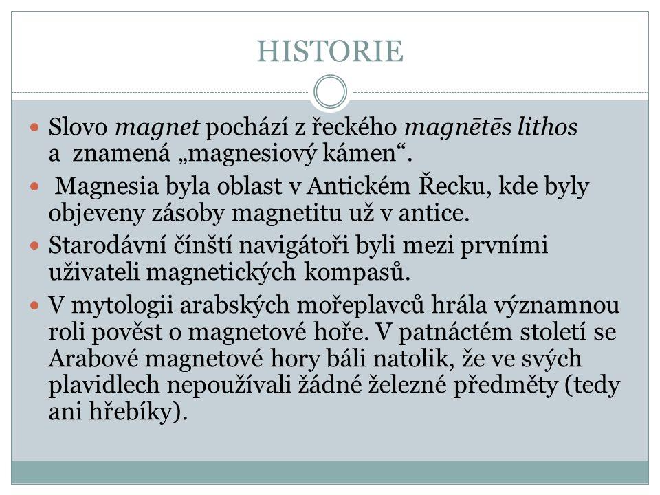 """HISTORIE Slovo magnet pochází z řeckého magnētēs lithos a znamená """"magnesiový kámen ."""