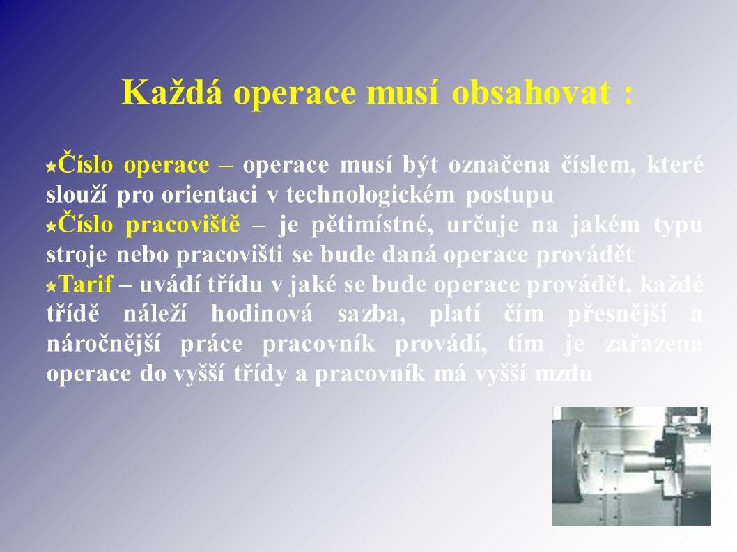 Každá operace musí obsahovat : Číslo operace – operace musí být označena číslem, které slouží pro orientaci v technologickém postupu Číslo pracoviště