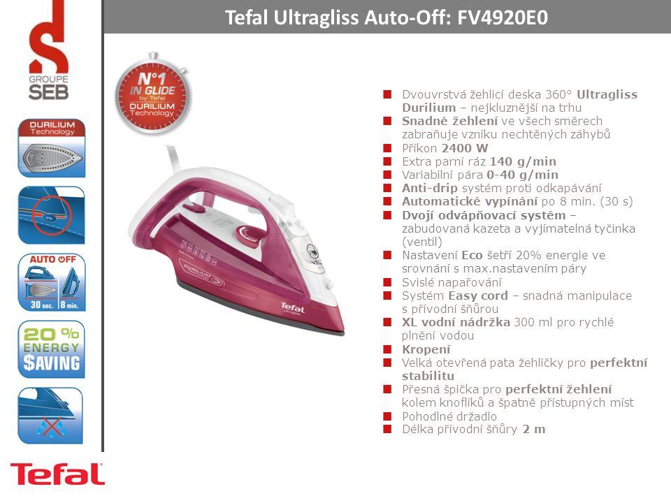 Tefal Ultragliss Auto-Off: FV4920E0 Dvouvrstvá žehlicí deska 360° Ultragliss Durilium – nejkluznější na trhu Snadné žehlení ve všech směrech zabraňuje vzniku nechtěných záhybů Příkon 2400 W Extra parní ráz 140 g/min Variabilní pára 0-40 g/min Anti-drip systém proti odkapávání Automatické vypínání po 8 min.