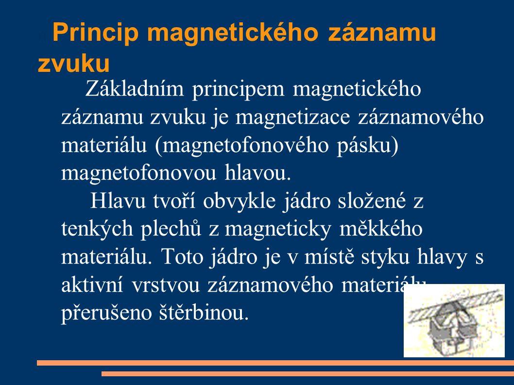Princip magnetického záznamu zvuku Základním principem magnetického záznamu zvuku je magnetizace záznamového materiálu (magnetofonového pásku) magnetofonovou hlavou.