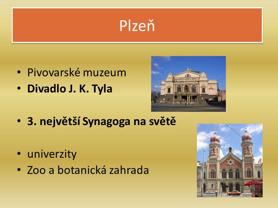 Plzeň Pivovarské muzeum Divadlo J. K. Tyla 3. největší Synagoga na světě univerzity Zoo a botanická zahrada