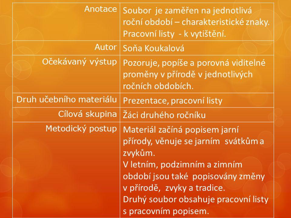 Anotace Soubor je zaměřen na jednotlivá roční období – charakteristické znaky.
