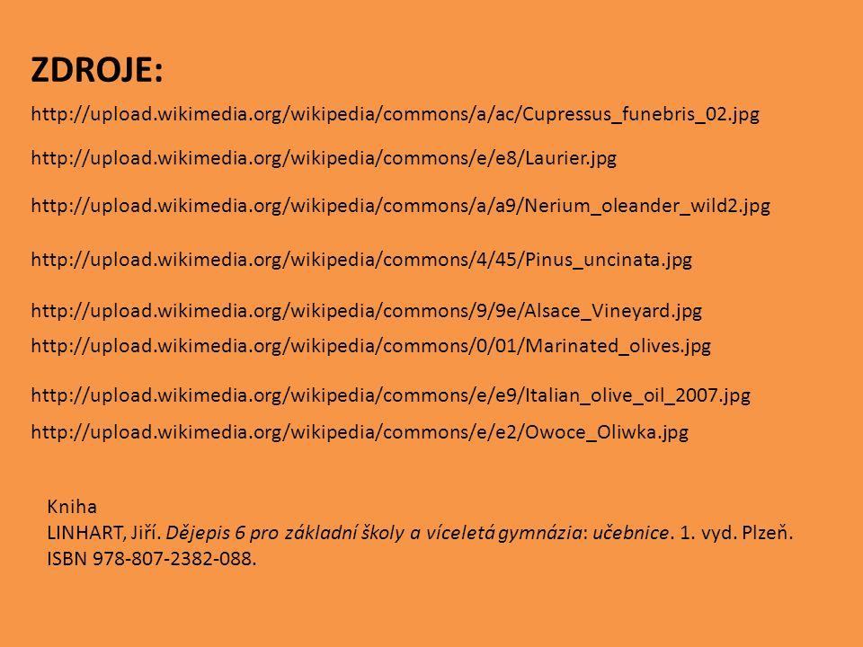 http://upload.wikimedia.org/wikipedia/commons/a/ac/Cupressus_funebris_02.jpg http://upload.wikimedia.org/wikipedia/commons/e/e8/Laurier.jpg http://upload.wikimedia.org/wikipedia/commons/a/a9/Nerium_oleander_wild2.jpg http://upload.wikimedia.org/wikipedia/commons/4/45/Pinus_uncinata.jpg http://upload.wikimedia.org/wikipedia/commons/9/9e/Alsace_Vineyard.jpg http://upload.wikimedia.org/wikipedia/commons/0/01/Marinated_olives.jpg http://upload.wikimedia.org/wikipedia/commons/e/e9/Italian_olive_oil_2007.jpg http://upload.wikimedia.org/wikipedia/commons/e/e2/Owoce_Oliwka.jpg ZDROJE: Kniha LINHART, Jiří.