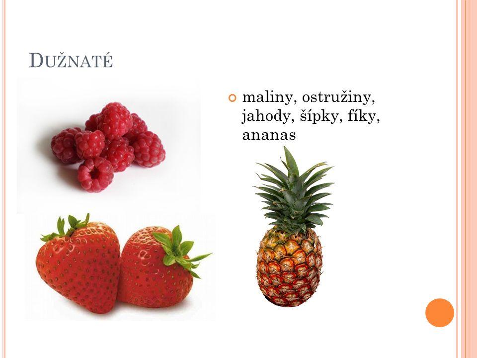 D UŽNATÉ maliny, ostružiny, jahody, šípky, fíky, ananas