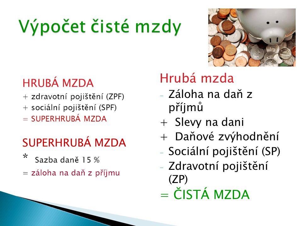 HRUBÁ MZDA + zdravotní pojištění (ZPF) + sociální pojištění (SPF) = SUPERHRUBÁ MZDA SUPERHRUBÁ MZDA * Sazba daně 15 % = záloha na daň z příjmu Hrubá m