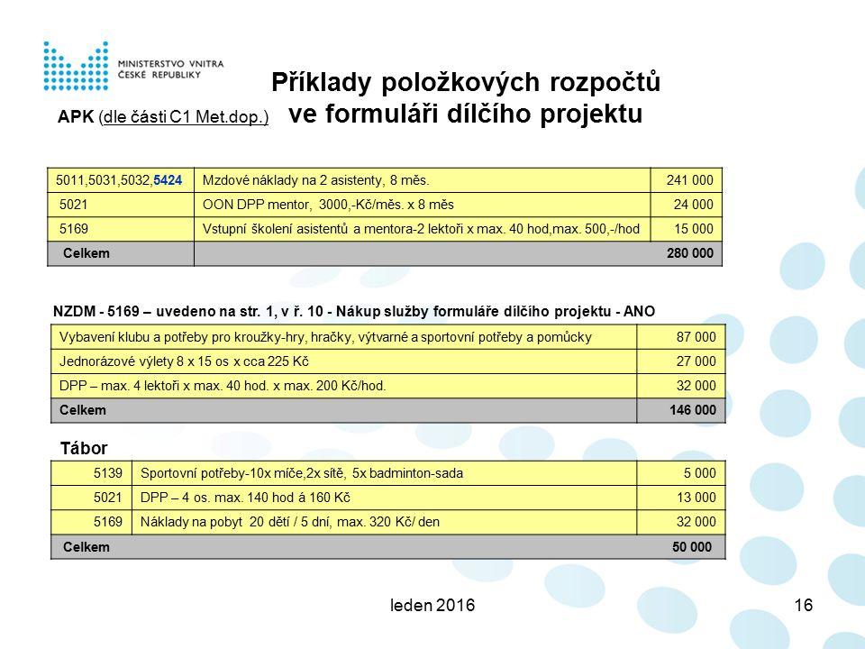 leden 201616 Příklady položkových rozpočtů ve formuláři dílčího projektu 5011,5031,5032,5424Mzdové náklady na 2 asistenty, 8 měs.241 000 5021OON DPP mentor, 3000,-Kč/měs.