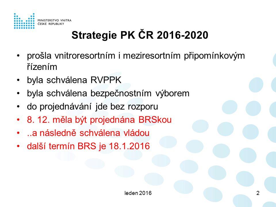 Strategie PK ČR 2016-2020 prošla vnitroresortním i meziresortním připomínkovým řízením byla schválena RVPPK byla schválena bezpečnostním výborem do pr