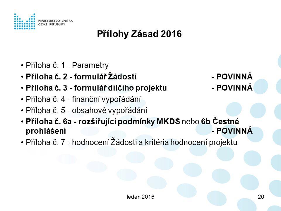 leden 201620 Přílohy Zásad 2016 Příloha č. 1 - Parametry Příloha č. 2 - formulář Žádosti- POVINNÁ Příloha č. 3 - formulář dílčího projektu - POVINNÁ P