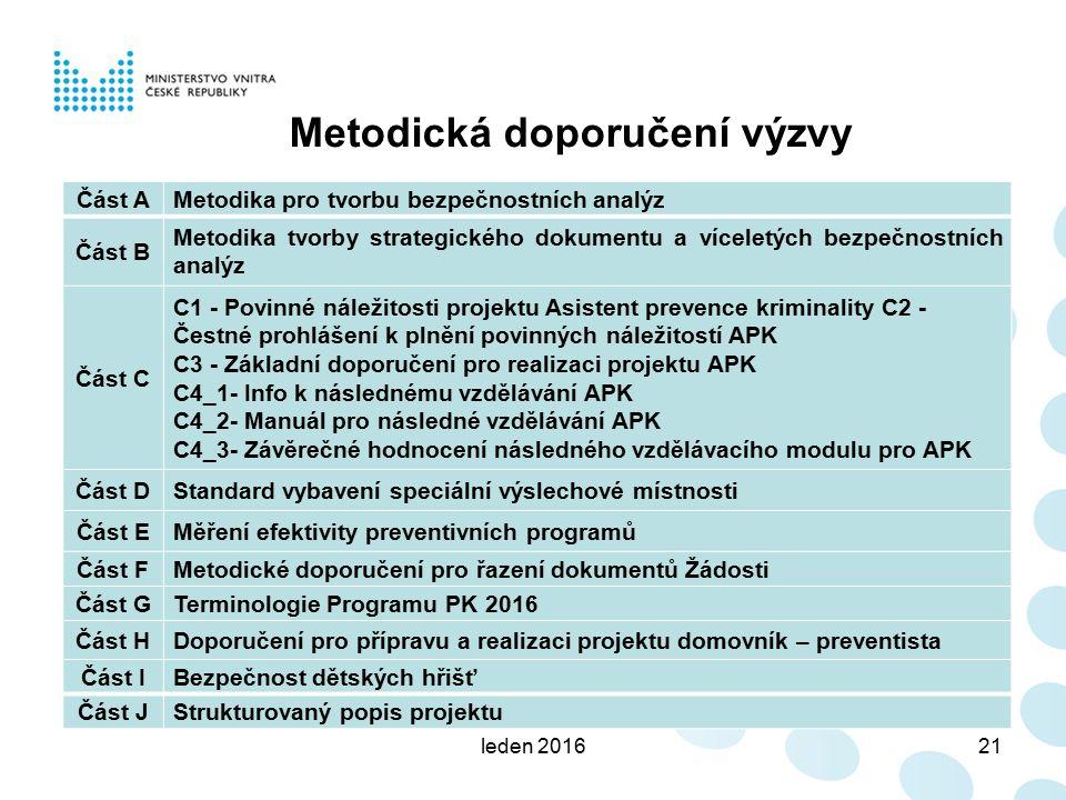 leden 201621 Metodická doporučení výzvy Část AMetodika pro tvorbu bezpečnostních analýz Část B Metodika tvorby strategického dokumentu a víceletých be