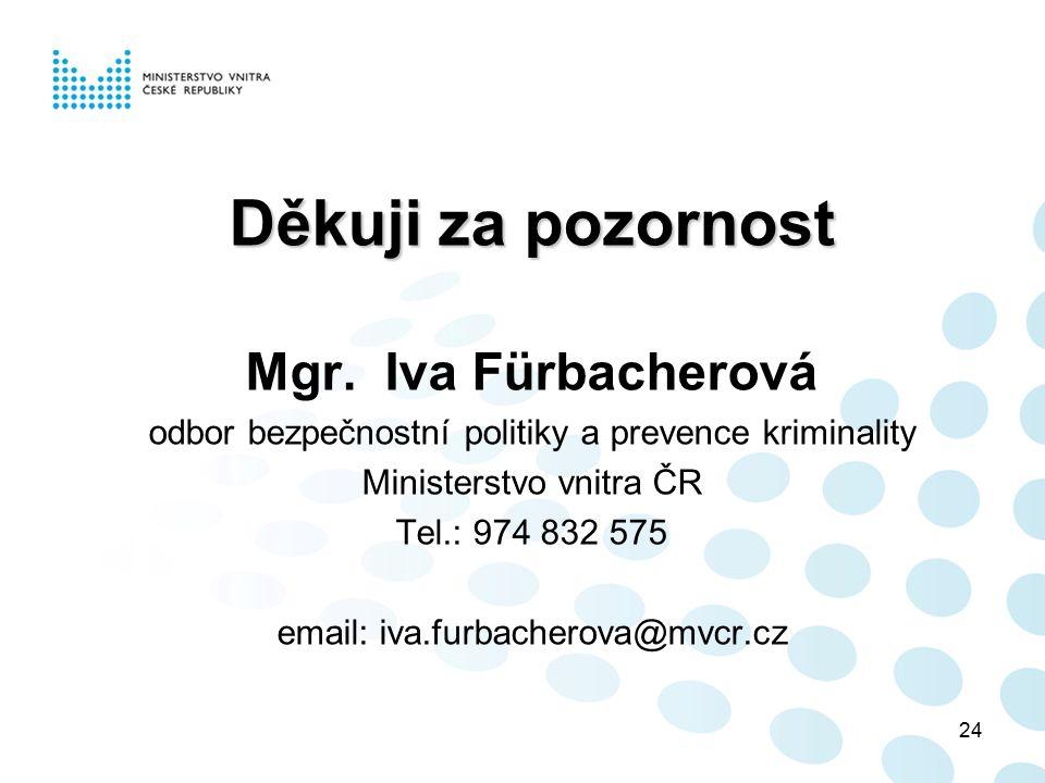 24 Děkuji za pozornost Mgr. Iva Fürbacherová odbor bezpečnostní politiky a prevence kriminality Ministerstvo vnitra ČR Tel.: 974 832 575 email: iva.fu