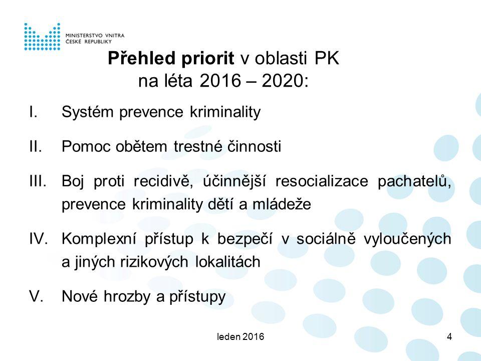 Přehled priorit v oblasti PK na léta 2016 – 2020: leden 20164 I. Systém prevence kriminality II. Pomoc obětem trestné činnosti III. Boj proti recidivě