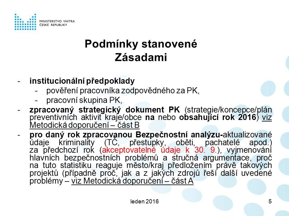 leden 20165 Podmínky stanovené Zásadami -institucionální předpoklady -pověření pracovníka zodpovědného za PK, -pracovní skupina PK, -zpracovaný strategický dokument PK (strategie/koncepce/plán preventivních aktivit kraje/obce na nebo obsahující rok 2016) viz Metodická doporučení – část B -pro daný rok zpracovanou Bezpečnostní analýzu-aktualizované údaje kriminality (TČ, přestupky, oběti, pachatelé apod.) za předchozí rok (akceptovatelné údaje k 30.
