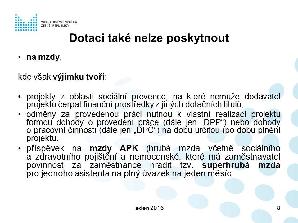 leden 20169 Limity a kritéria Vybudování MKDS – I.
