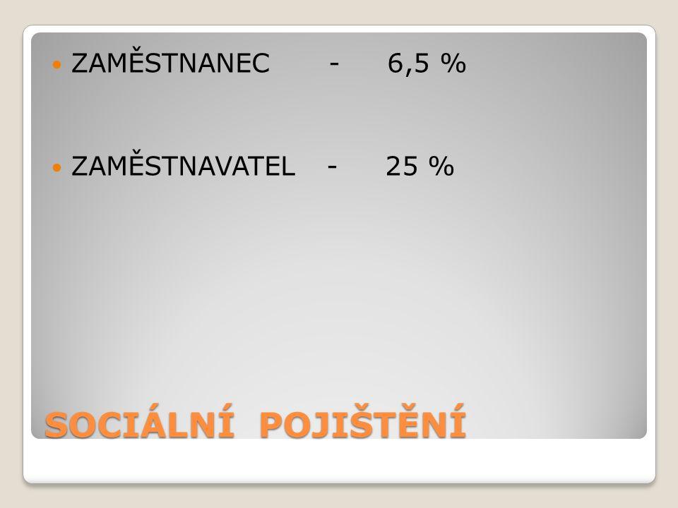 SOCIÁLNÍ POJIŠTĚNÍ ZAMĚSTNANEC - 6,5 % ZAMĚSTNAVATEL - 25 %