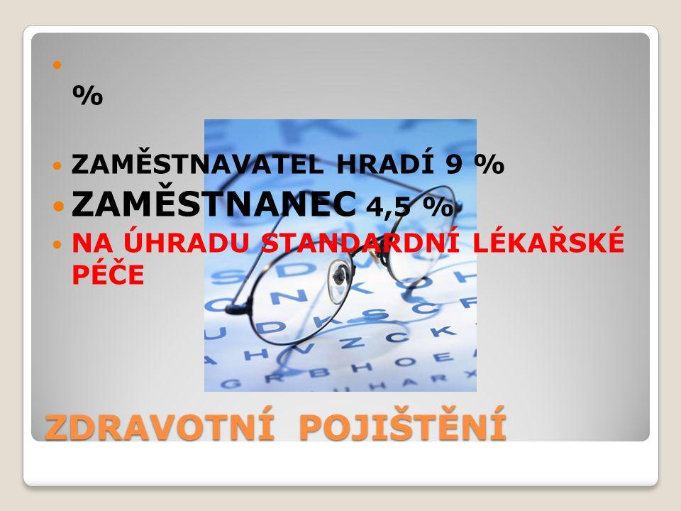 ZDRAVOTNÍ POJIŠTĚNÍ % ZAMĚSTNAVATEL HRADÍ 9 % ZAMĚSTNANEC 4,5 % NA ÚHRADU STANDARDNÍ LÉKAŘSKÉ PÉČE