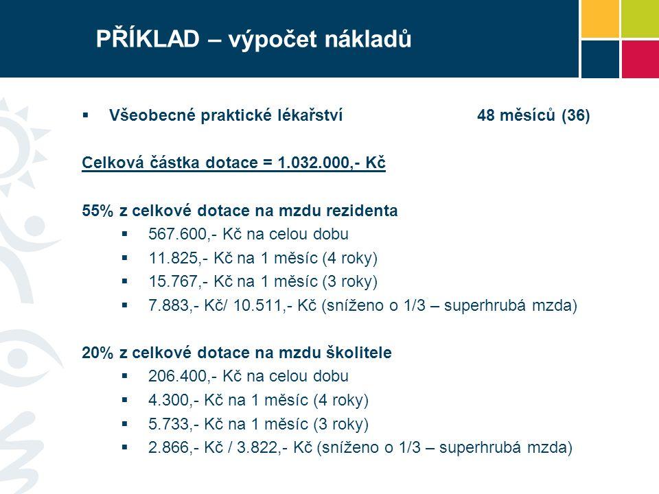 PŘÍKLAD – výpočet nákladů  Všeobecné praktické lékařství48 měsíců (36) Celková částka dotace = 1.032.000,- Kč 55% z celkové dotace na mzdu rezidenta  567.600,- Kč na celou dobu  11.825,- Kč na 1 měsíc (4 roky)  15.767,- Kč na 1 měsíc (3 roky)  7.883,- Kč/ 10.511,- Kč (sníženo o 1/3 – superhrubá mzda) 20% z celkové dotace na mzdu školitele  206.400,- Kč na celou dobu  4.300,- Kč na 1 měsíc (4 roky)  5.733,- Kč na 1 měsíc (3 roky)  2.866,- Kč / 3.822,- Kč (sníženo o 1/3 – superhrubá mzda)