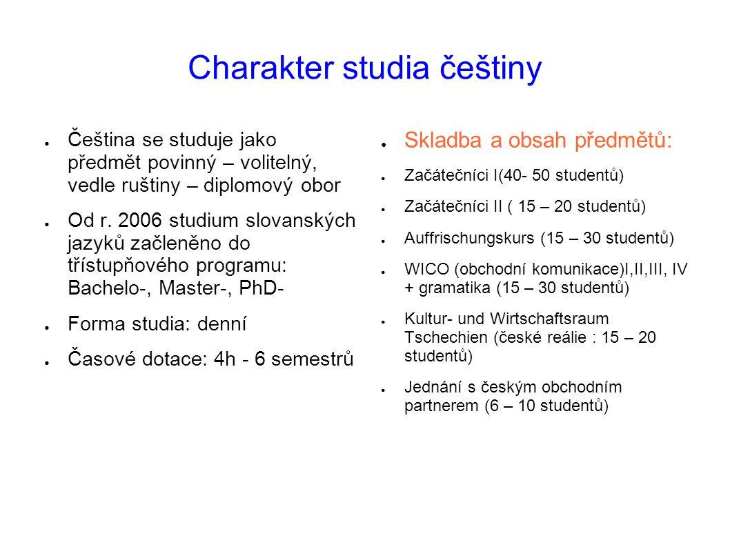 Charakter studia češtiny ● Čeština se studuje jako předmět povinný – volitelný, vedle ruštiny – diplomový obor ● Od r. 2006 studium slovanských jazyků