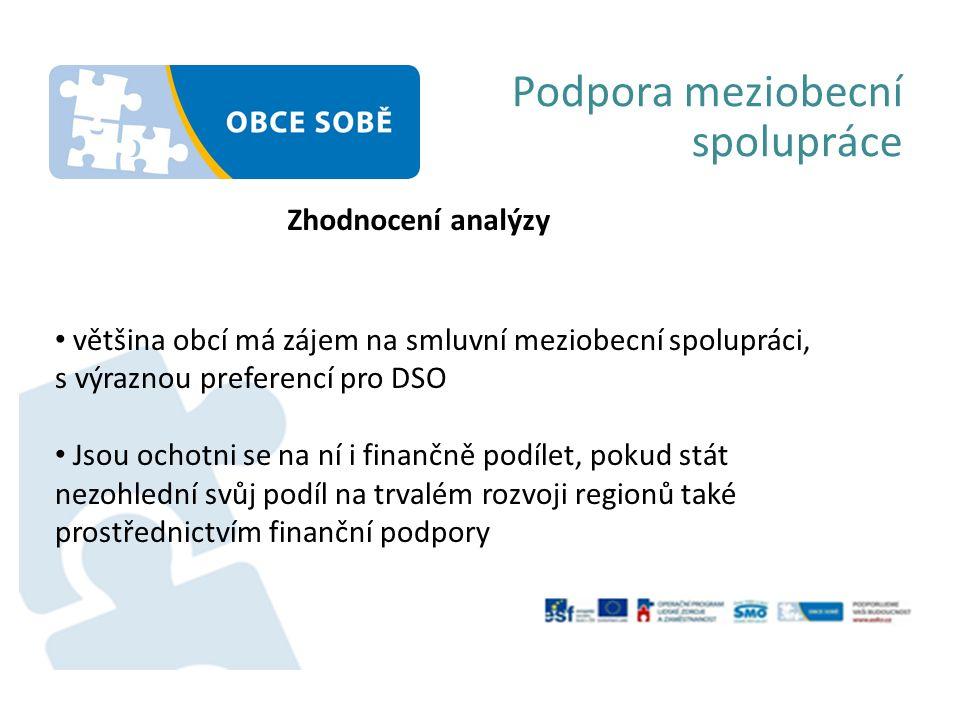 Podpora meziobecní spolupráce Zhodnocení analýzy většina obcí má zájem na smluvní meziobecní spolupráci, s výraznou preferencí pro DSO Jsou ochotni se na ní i finančně podílet, pokud stát nezohlední svůj podíl na trvalém rozvoji regionů také prostřednictvím finanční podpory