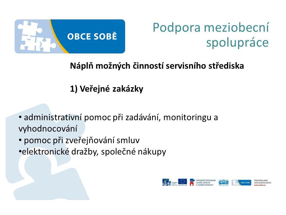 Podpora meziobecní spolupráce Náplň možných činností servisního střediska 2) Právní podpora příprava podkladů pro jednání zastupitelstva, a dalších orgánů obce (spolupráce na zápisech ze zasedání zastupitelstva) příprava smluv (nakládání s nemovitostmi, nemajetková agenda obcí) legislativní činnost obcí (vydávání obecně závazných vyhlášek) informační servis změny legislativy s dopadem na fungování obcí