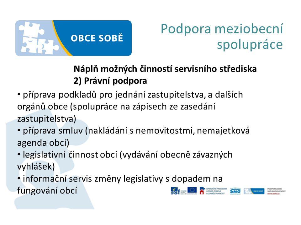 Podpora meziobecní spolupráce Náplň možných činností servisního střediska 3) Dotační management monitorování dotačních výzev (informační servis) Příprava žádosti o dotaci Vyúčtování Řízení udržitelnosti projektu
