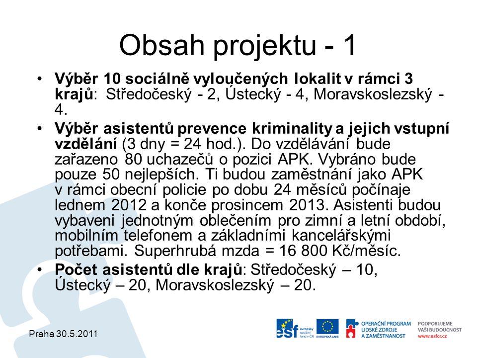 Praha 30.5.2011 Obsah projektu - 1 Výběr 10 sociálně vyloučených lokalit v rámci 3 krajů: Středočeský - 2, Ústecký - 4, Moravskoslezský - 4.