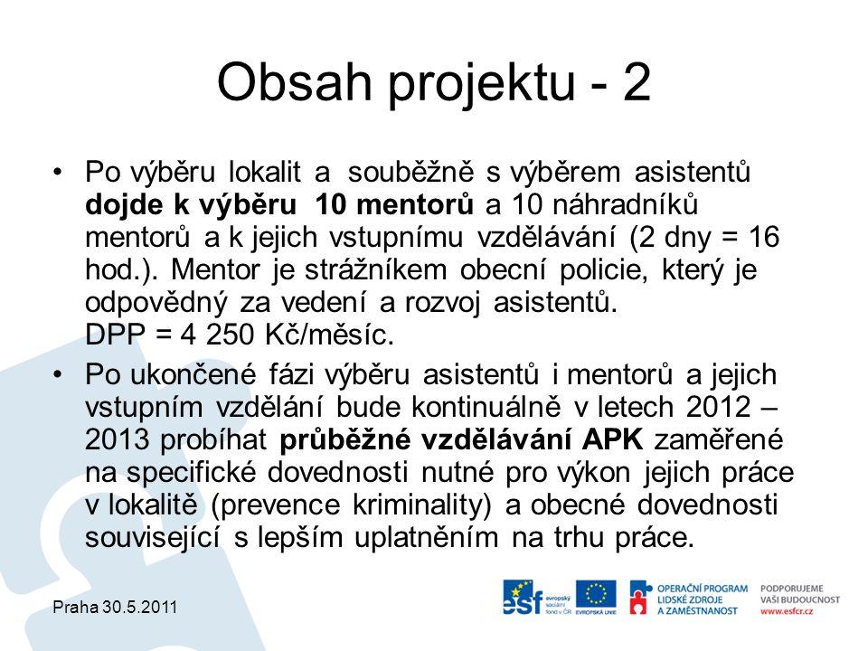 Praha 30.5.2011 Obsah projektu - 2 Po výběru lokalit a souběžně s výběrem asistentů dojde k výběru 10 mentorů a 10 náhradníků mentorů a k jejich vstupnímu vzdělávání (2 dny = 16 hod.).