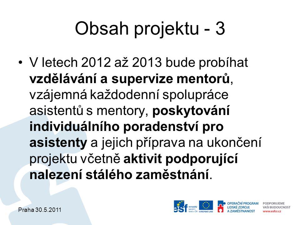 Praha 30.5.2011 Obsah projektu - 3 V letech 2012 až 2013 bude probíhat vzdělávání a supervize mentorů, vzájemná každodenní spolupráce asistentů s mentory, poskytování individuálního poradenství pro asistenty a jejich příprava na ukončení projektu včetně aktivit podporující nalezení stálého zaměstnání.