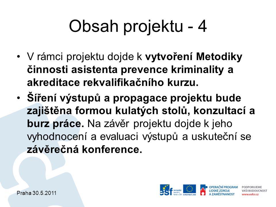Praha 30.5.2011 Obsah projektu - 4 V rámci projektu dojde k vytvoření Metodiky činnosti asistenta prevence kriminality a akreditace rekvalifikačního kurzu.