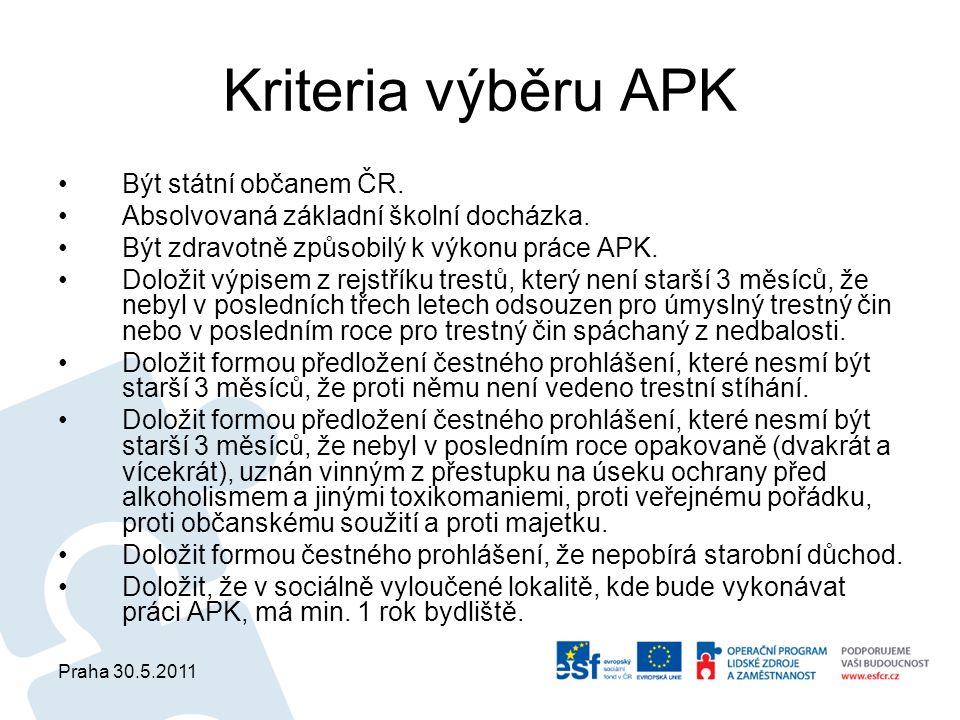 Praha 30.5.2011 Kriteria výběru APK Být státní občanem ČR. Absolvovaná základní školní docházka. Být zdravotně způsobilý k výkonu práce APK. Doložit v