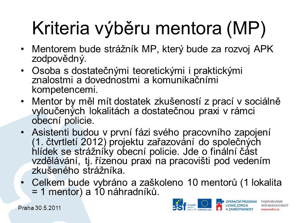 Praha 30.5.2011 Kriteria výběru mentora (MP) Mentorem bude strážník MP, který bude za rozvoj APK zodpovědný. Osoba s dostatečnými teoretickými i prakt