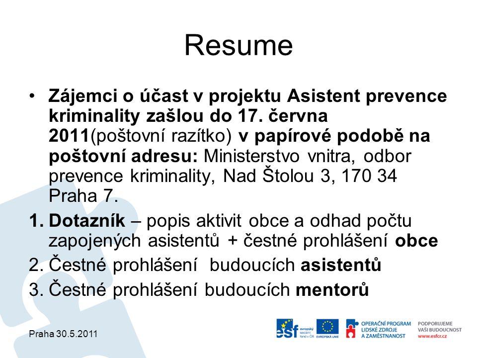 Praha 30.5.2011 Resume Zájemci o účast v projektu Asistent prevence kriminality zašlou do 17. června 2011(poštovní razítko) v papírové podobě na pošto