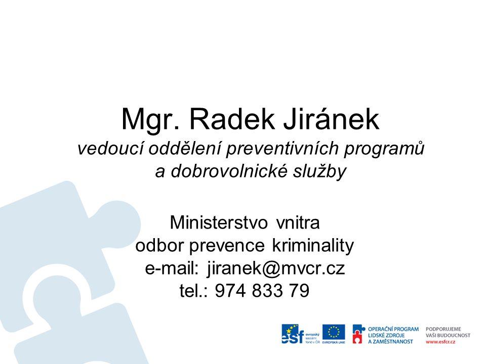 Mgr. Radek Jiránek vedoucí oddělení preventivních programů a dobrovolnické služby Ministerstvo vnitra odbor prevence kriminality e-mail: jiranek@mvcr.