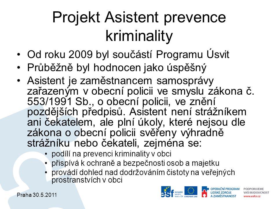 Praha 30.5.2011 Projekt Asistent prevence kriminality Od roku 2009 byl součástí Programu Úsvit Průběžně byl hodnocen jako úspěšný Asistent je zaměstnancem samosprávy zařazeným v obecní policii ve smyslu zákona č.