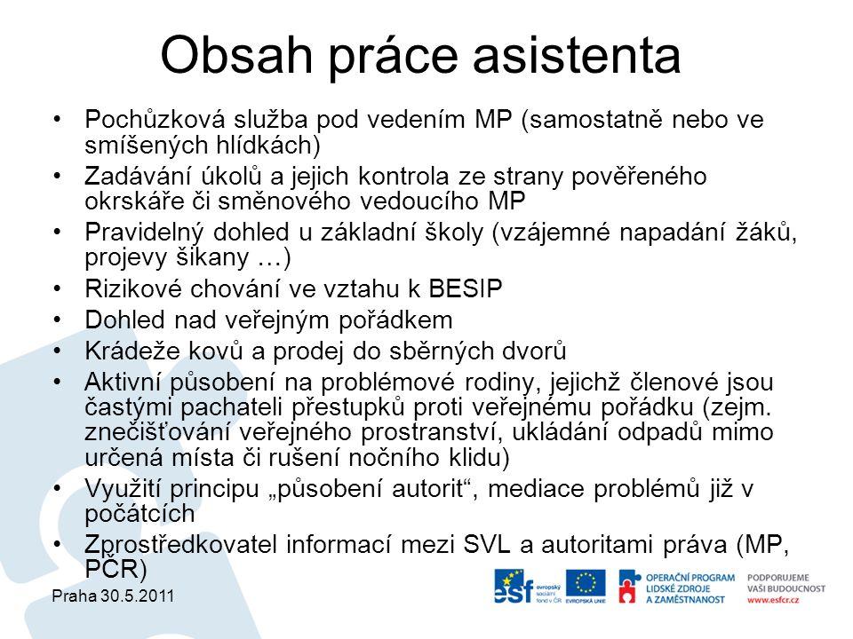 Praha 30.5.2011 Obsah práce asistenta Pochůzková služba pod vedením MP (samostatně nebo ve smíšených hlídkách) Zadávání úkolů a jejich kontrola ze str
