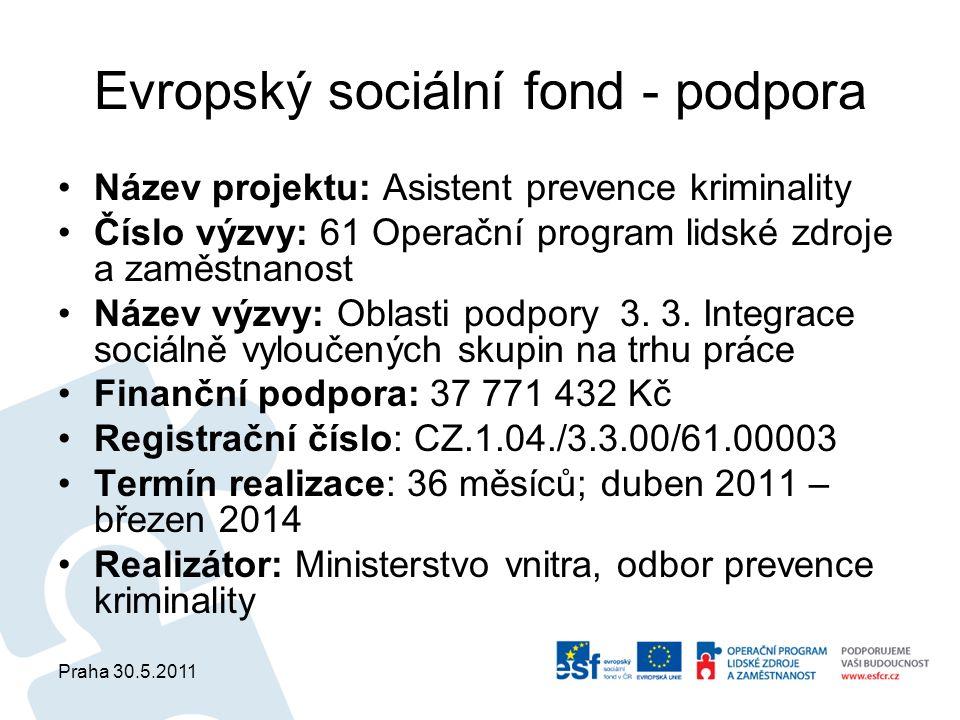 Praha 30.5.2011 Evropský sociální fond - podpora Název projektu: Asistent prevence kriminality Číslo výzvy: 61 Operační program lidské zdroje a zaměst