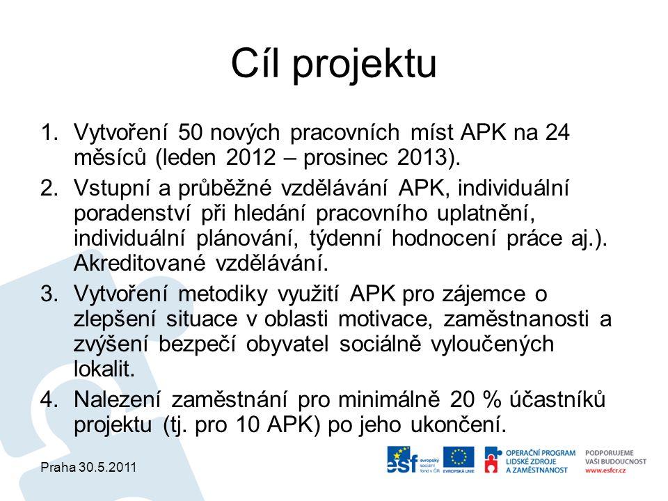 Praha 30.5.2011 Cíl projektu 1.Vytvoření 50 nových pracovních míst APK na 24 měsíců (leden 2012 – prosinec 2013). 2.Vstupní a průběžné vzdělávání APK,