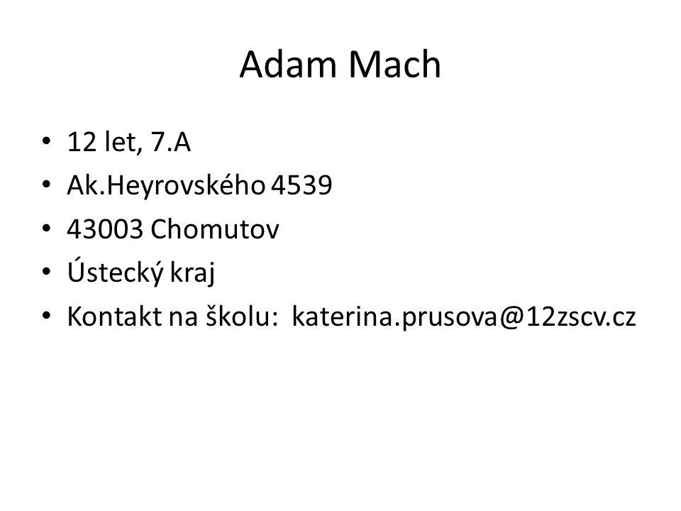 Adam Mach 12 let, 7.A Ak.Heyrovského 4539 43003 Chomutov Ústecký kraj Kontakt na školu: katerina.prusova@12zscv.cz