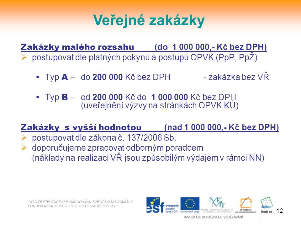 12 Zakázky malého rozsahu (do 1 000 000,- Kč bez DPH)  postupovat dle platných pokynů a postupů OPVK (PpP, PpŽ)  Typ A – do 200 000 Kč bez DPH - zak