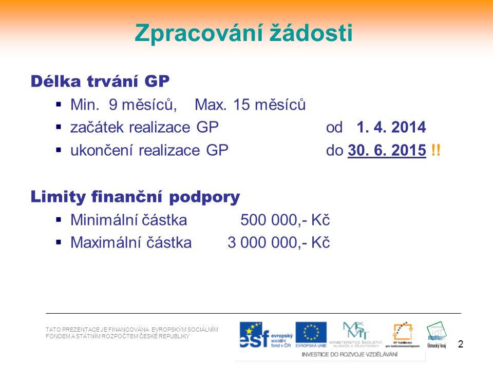 2 Délka trvání GP  Min. 9 měsíců, Max. 15 měsíců  začátek realizace GP od 1. 4. 2014  ukončení realizace GP do 30. 6. 2015 !! Limity finanční podpo
