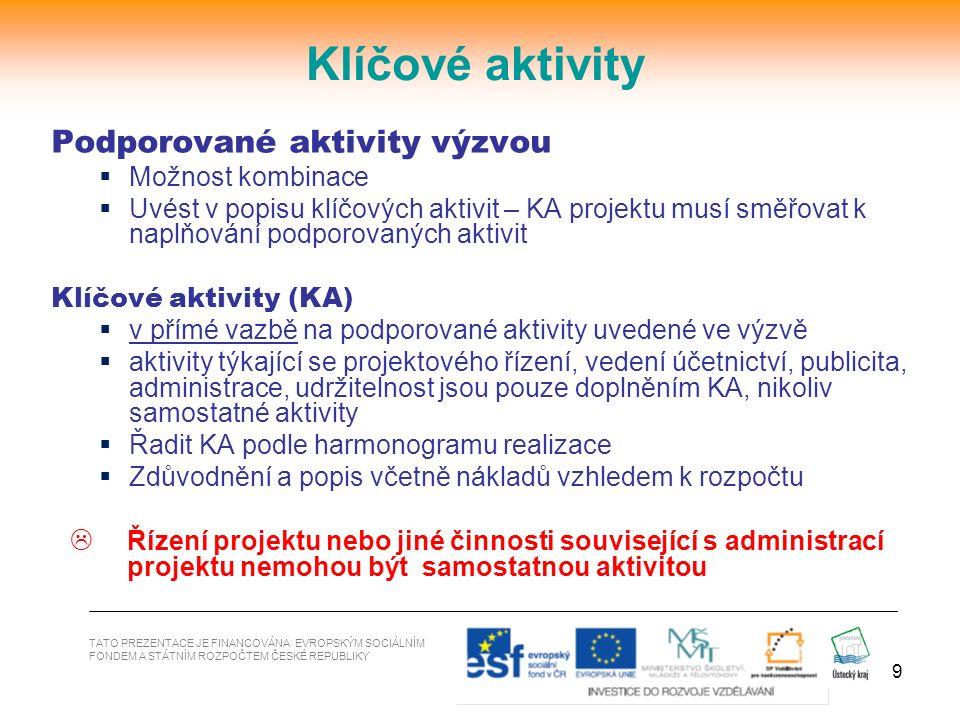9 TATO PREZENTACE JE FINANCOVÁNA EVROPSKÝM SOCIÁLNÍM FONDEM A STÁTNÍM ROZPOČTEM ČESKÉ REPUBLIKY Klíčové aktivity Podporované aktivity výzvou  Možnost