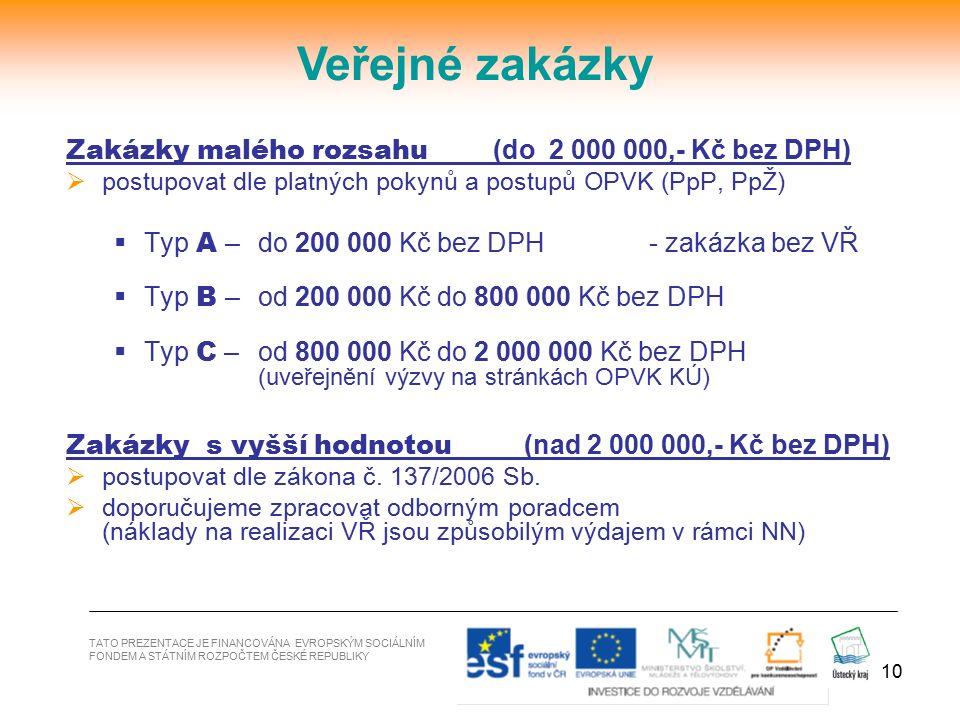 10 Zakázky malého rozsahu (do 2 000 000,- Kč bez DPH)  postupovat dle platných pokynů a postupů OPVK (PpP, PpŽ)  Typ A – do 200 000 Kč bez DPH - zak