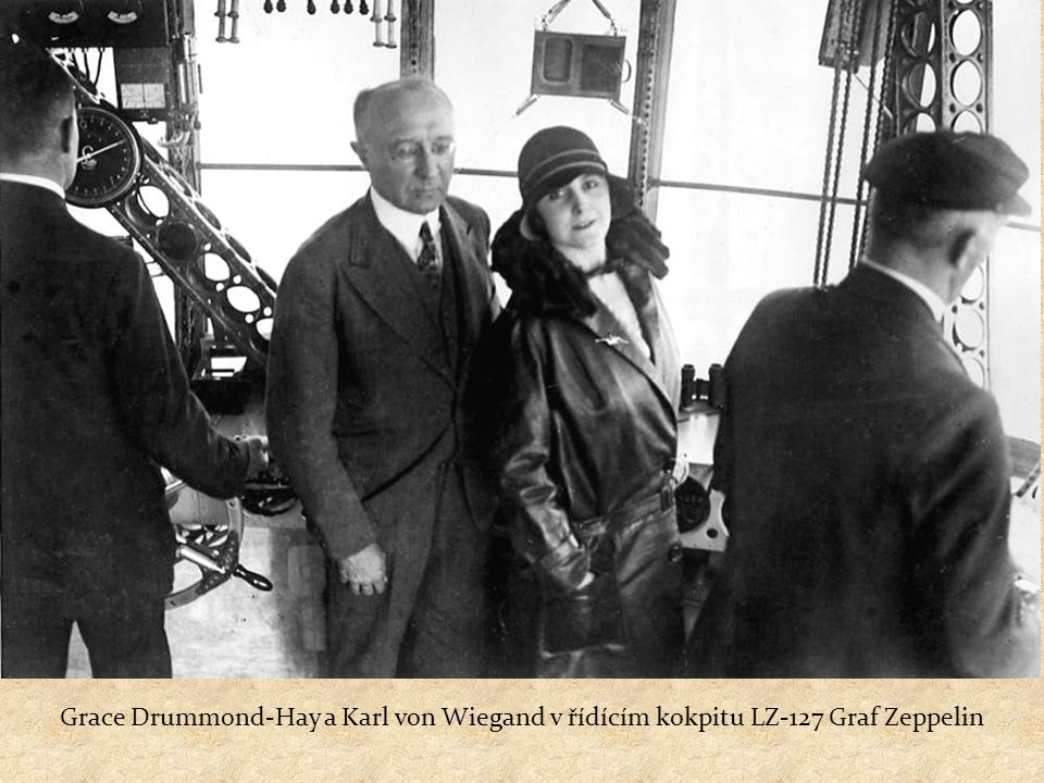 """Clara Adams & Lady Grace Drummond-Hay Jako častý cestující Lady Grace Drummond-Hay vzpomínala: """"Přestože jsme měli ve vzducholodi sebou miliony kubíků plynu, nikde se netopilo… a všude nemilosrdně táhlo skrze plátěné stěny v tomto létajícím stanu."""