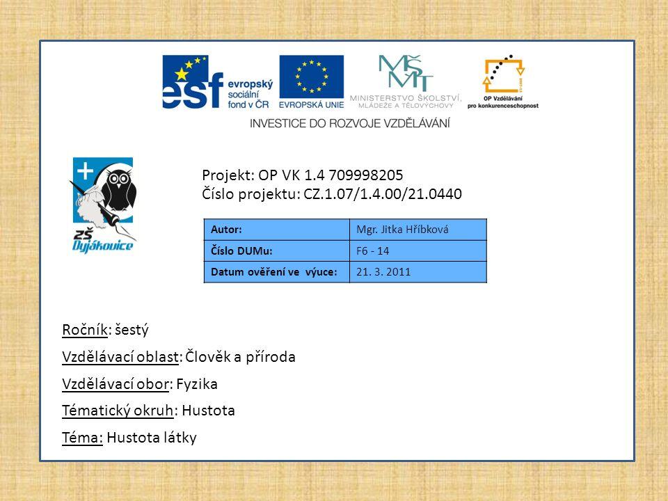 Autor:Mgr. Jitka Hříbková Číslo DUMu:F6 - 14 Datum ověření ve výuce:21.